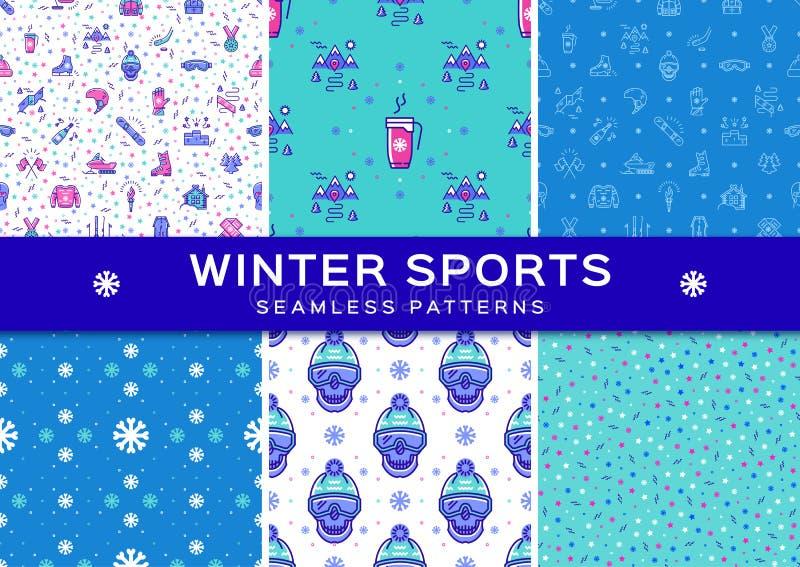 Set winter sport seamless patterns. Holiday recreation fun, ski, snowboard. Set winter sport seamless patterns. Winter recreation and fun, ski, snowboard royalty free illustration