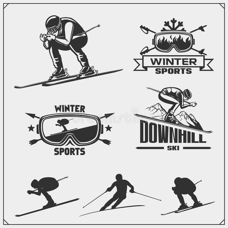 Set of winter sports emblems, labels and design elements. Skiing, downhill, slalom. stock illustration