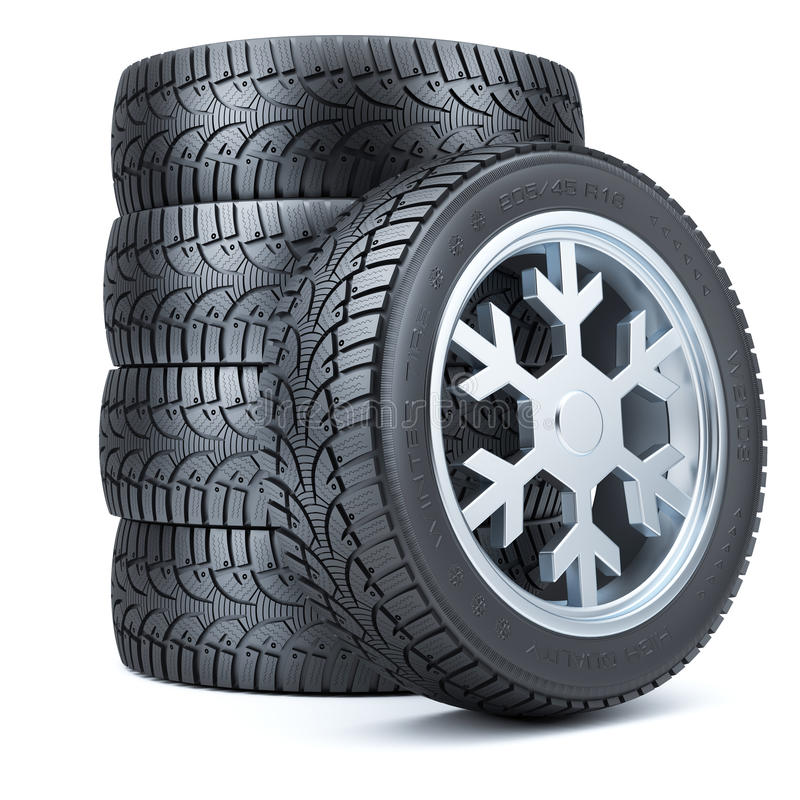 Free Set Winter Tires, Rim Of Snowflake Shape Royalty Free Stock Image - 61692326