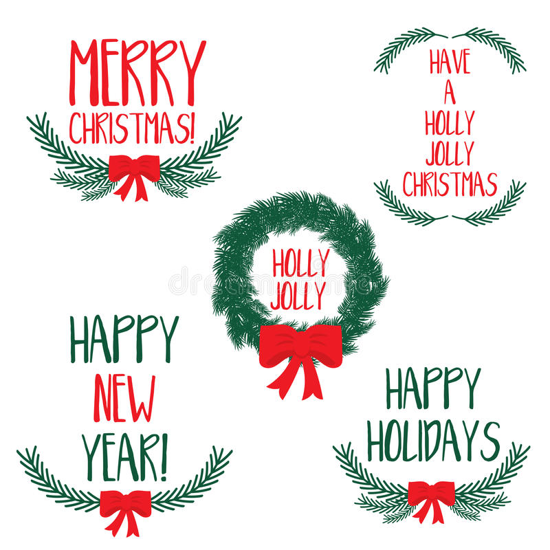 Set of winter wreaths with bow and hand drawn lettering text Merry Christmas and Happy New Year. Vector illustration royalty free illustration