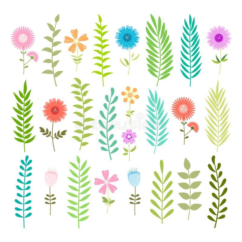 Set wiosna kwiaty i liście. ilustracja wektor