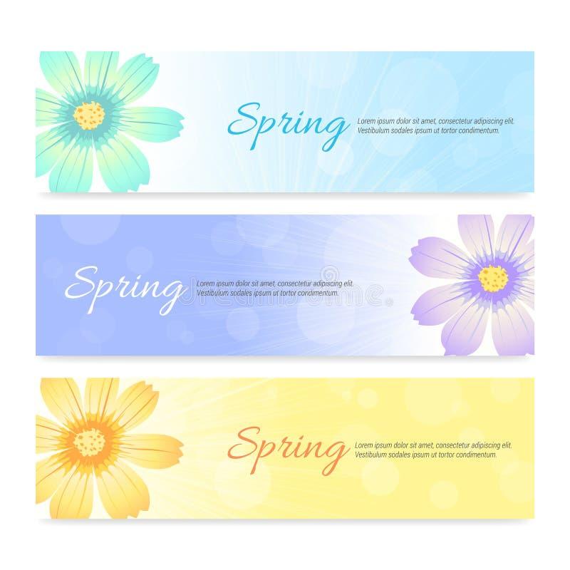 Set wiosna sezonu sztandaru tło ilustracji