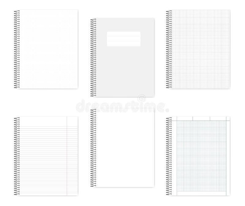 Set of wire bound letter format notebooks, vector mock up. Set of wire bound notebooks, vector mock up. Metal spiral binding note books, mock up. Loose leaf royalty free illustration