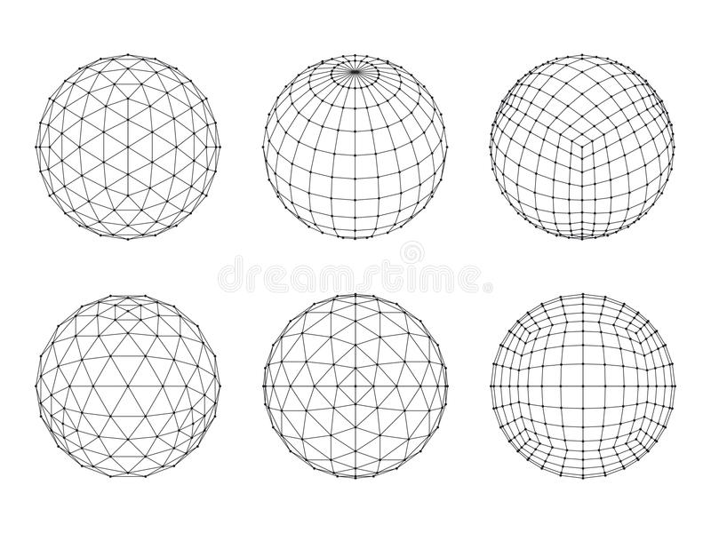 Set of Wireframe mesh spheres stock illustration