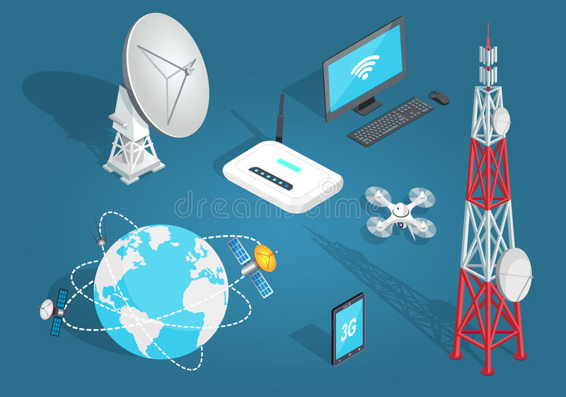 Set of Wireless Connection in Flat Cartoon Style stock illustration