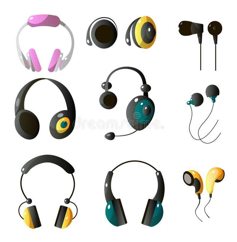 Set of wireless and wired headphones in different colors and shapes, closed headphones and droplets headphones. Vector illustration isolated on white stock illustration