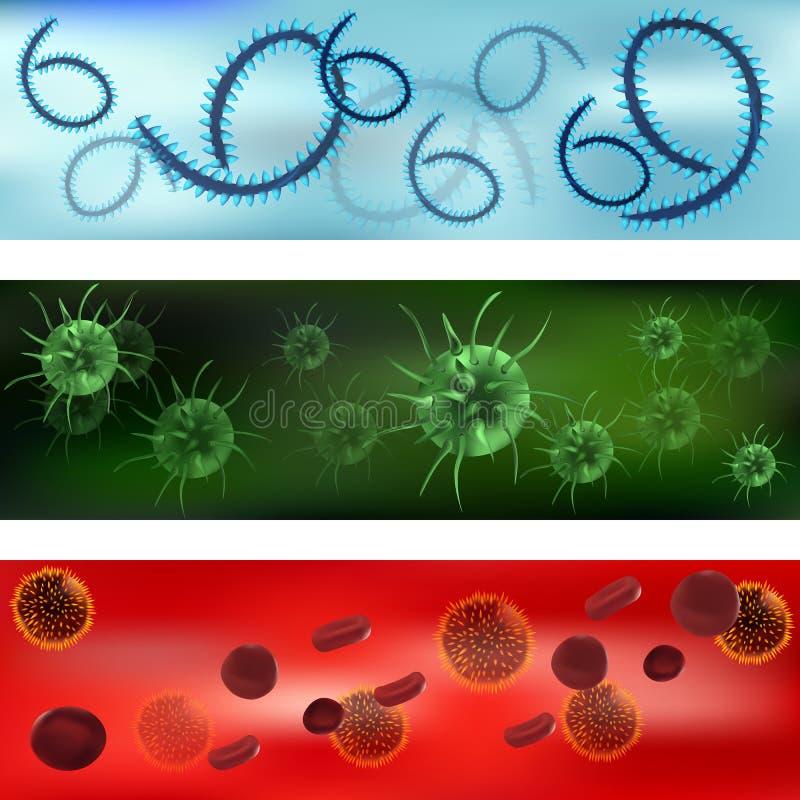 Set wirusy i bakterie Wirusy i bakterie pod mikroskopem Bakteryjny wirus, drobnoustrojowe komórki wektor royalty ilustracja