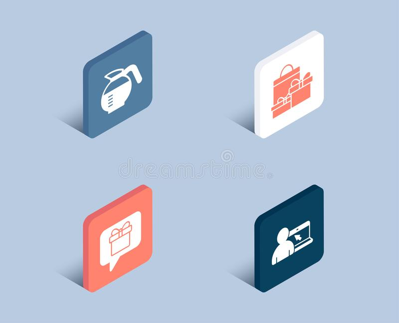 Download Wish List Shopping And Coffeepot Icons Online Education Sign Present Box