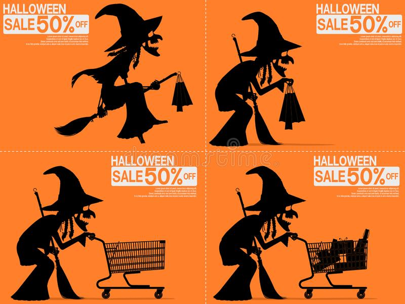 Set of witch are shopping on the Halloween night sale royalty free stock photography