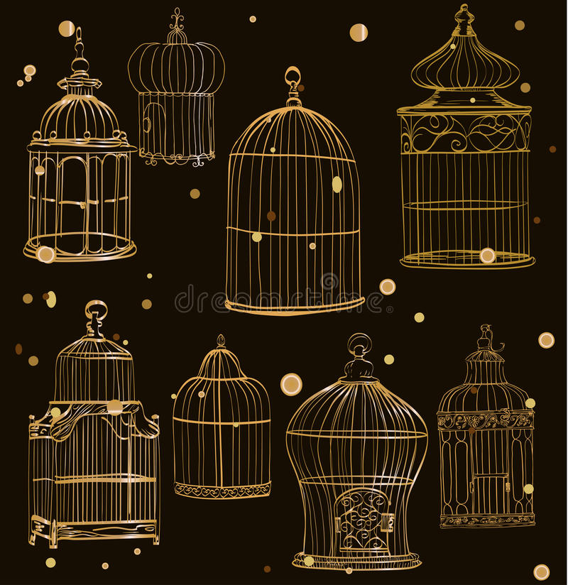 Free Set With Gold Cages Stock Photography - 62557552