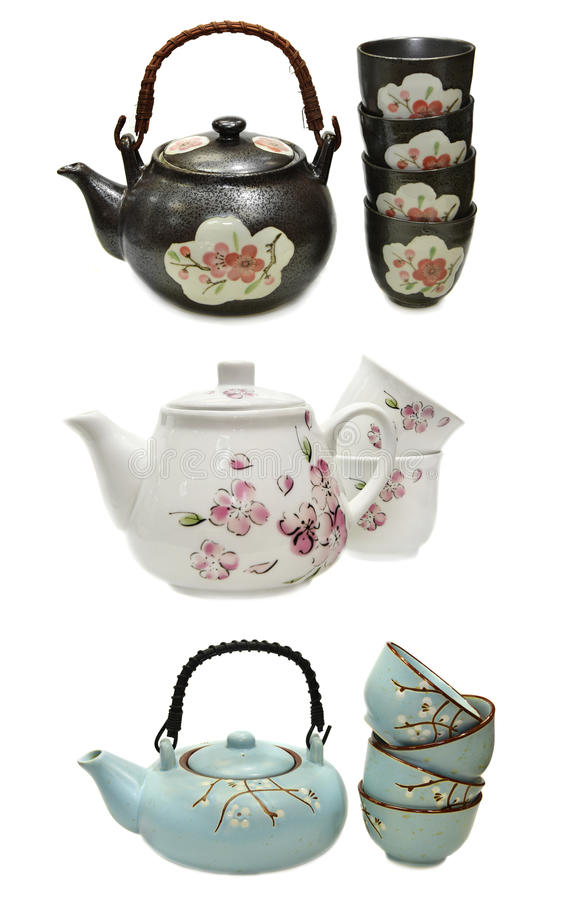 Free Set With Japanese Teapots And Cups Royalty Free Stock Photo - 58153305