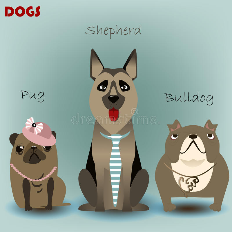 Free Set With Purebred Dogs Royalty Free Stock Image - 60369566