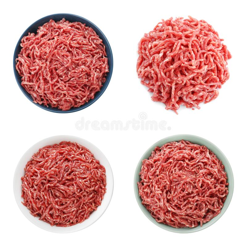 Free Set With Raw Minced Meat On Background, Top View Royalty Free Stock Images - 191142949