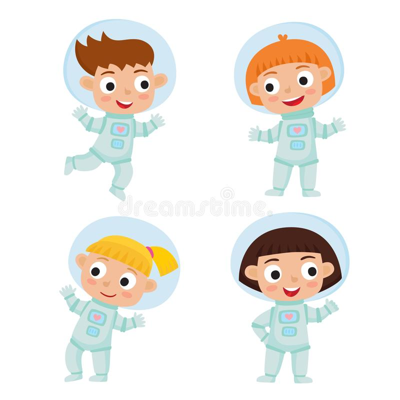 Free Set With Standing And Flying Astronaut Kids Isolated On White Ba Stock Photos - 128060883