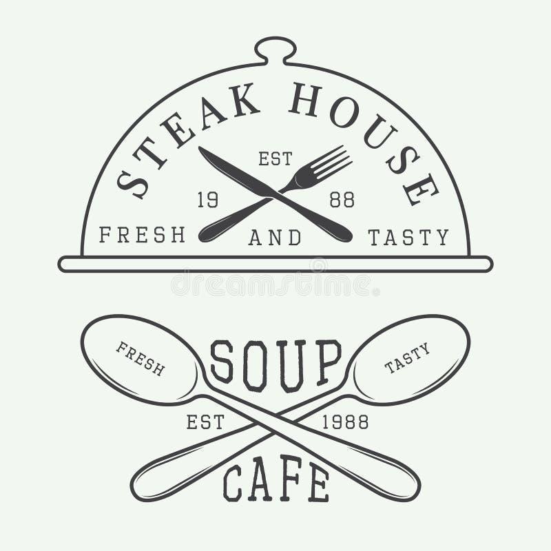 Set, withSet, odznaka, emblemat z spo, odznaki i emblemata rocznik kawiarnia i steakhouse logo, i royalty ilustracja