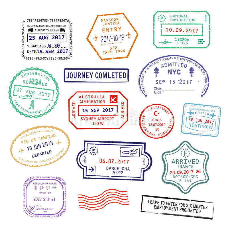 Set wiza paszport stempluje dla podróży Zjednoczone Królestwo Heathrow lotnisko, miasto, Singapur lub Nowy Jork ilustracji