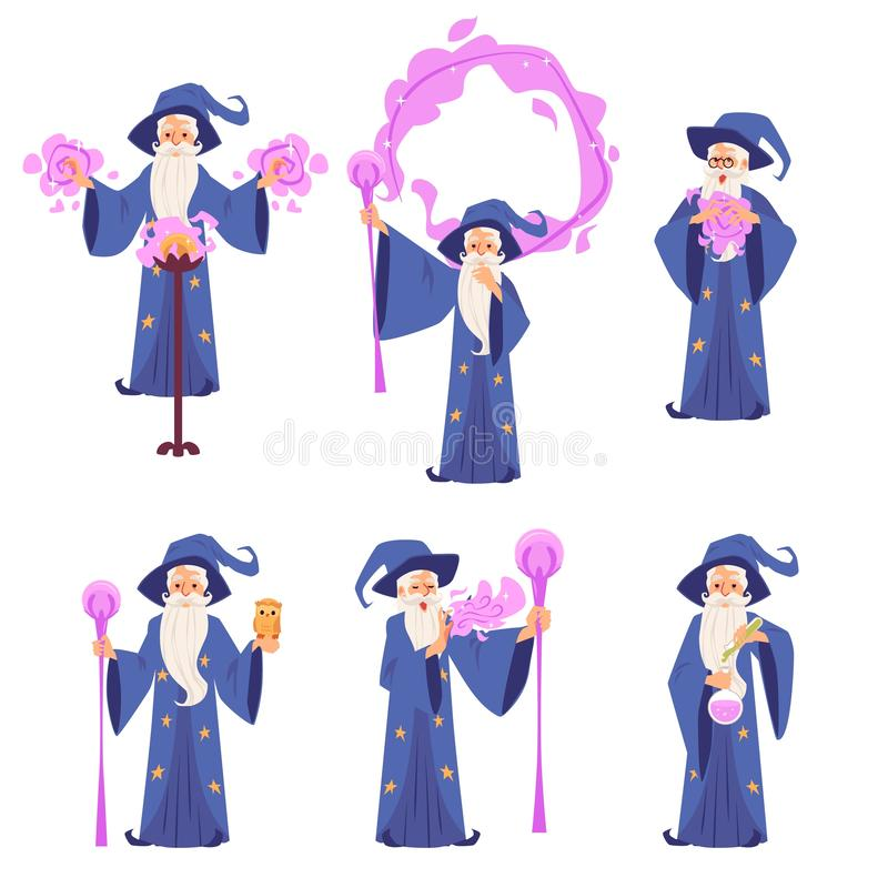 Set of wizard men in robe and hat stands making magic cartoon style royalty free illustration