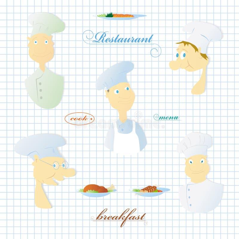 Set wizerunki kucharz ilustracja wektor
