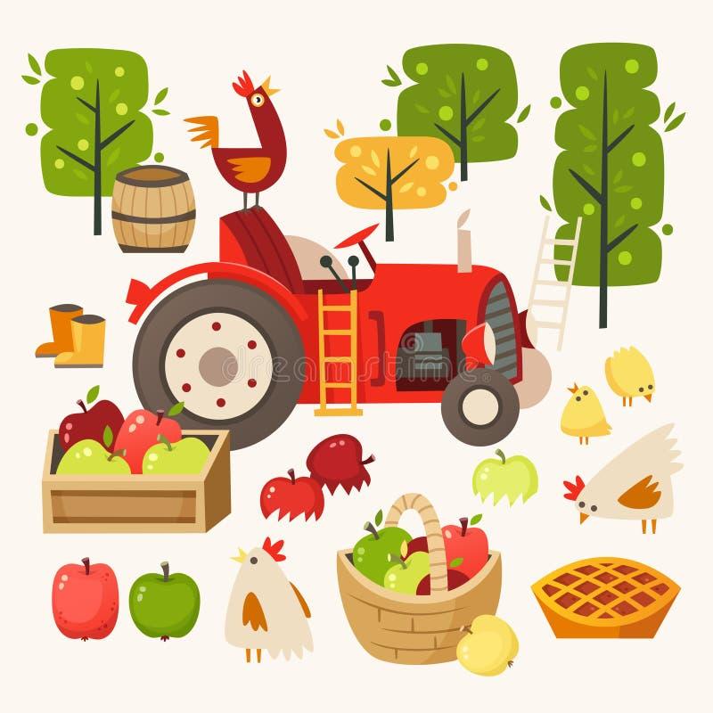 Set wizerunki reprezentuje wiejską scenę Podnosić up jabłka przy żniwo czasem ilustracja wektor