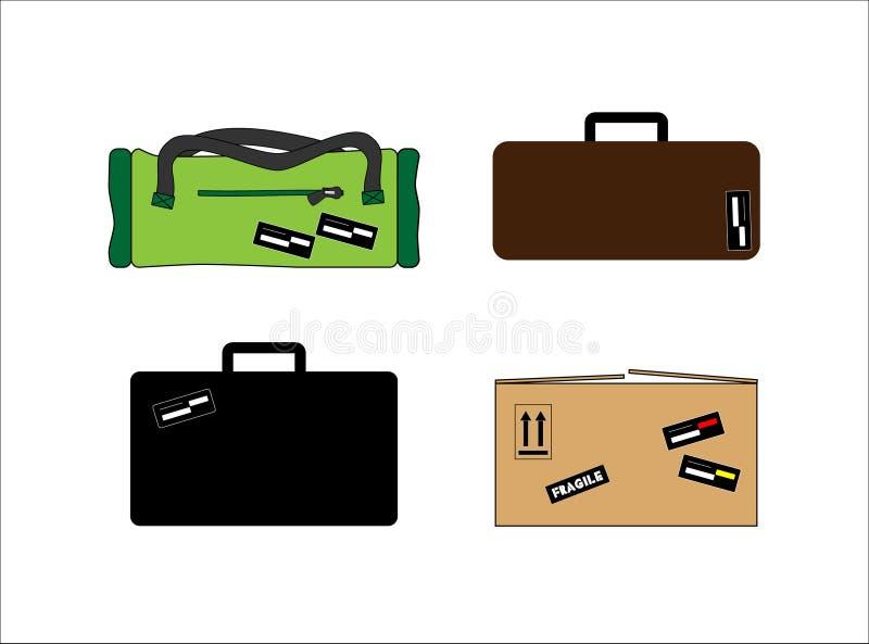 Set wizerunki, walizka, podróży torba i karton, ilustracja wektor