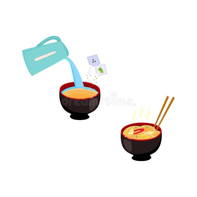 Set wizerunki z krok po kroku kulinarną instrukcją - dlaczego przygotowywać natychmiastowego kluski ilustracja wektor