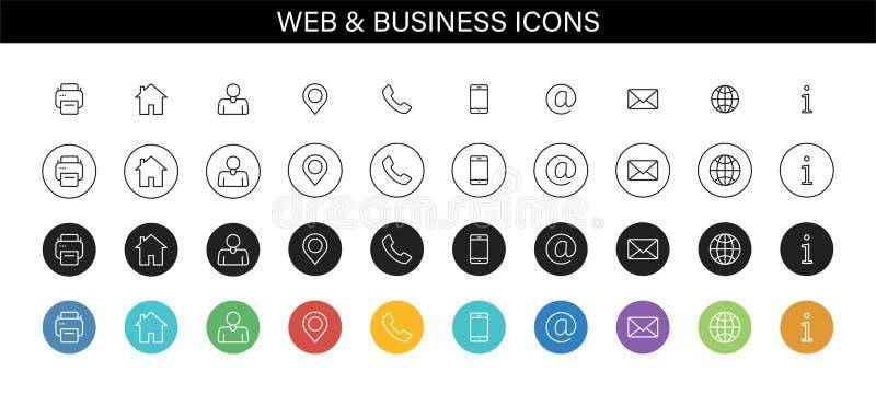 Set wizytówek ikony Imię, telefon, wisząca ozdoba, lokacja, miejsce, poczta, faks, sieć Kontaktuje się my, informacja, komunikacj ilustracja wektor
