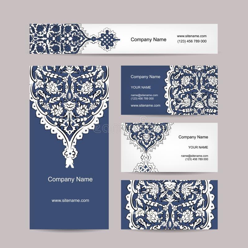 Set wizytówka projekt, turecki ornament royalty ilustracja