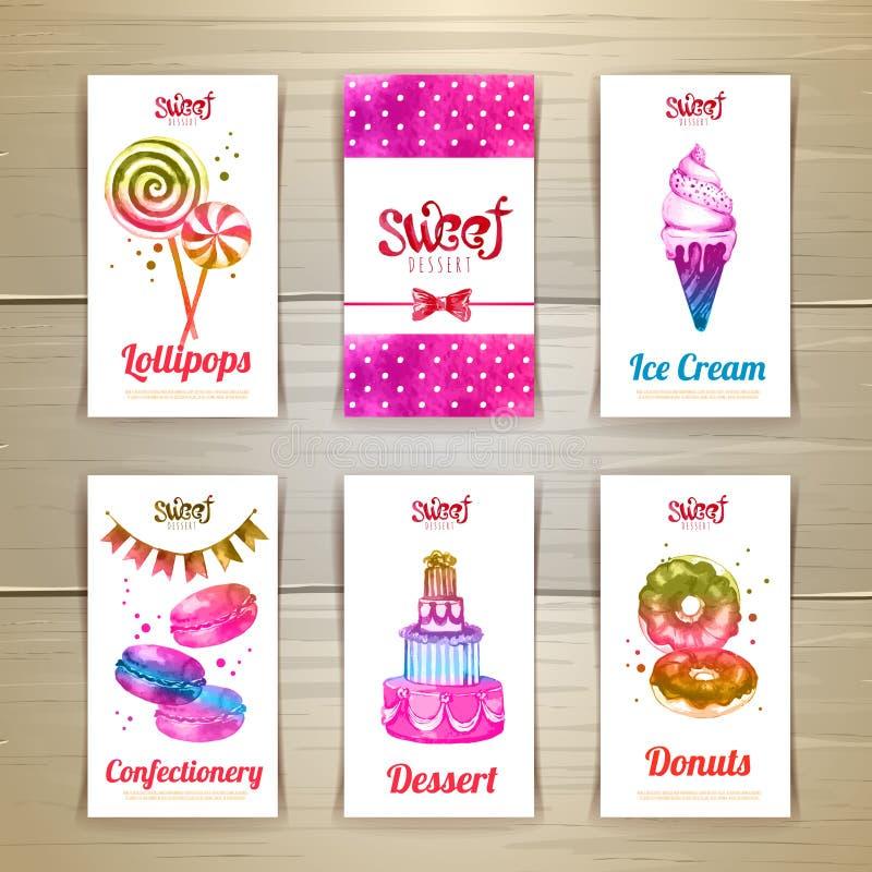 Set wizytówki z cukierkami lub deserami ilustracji