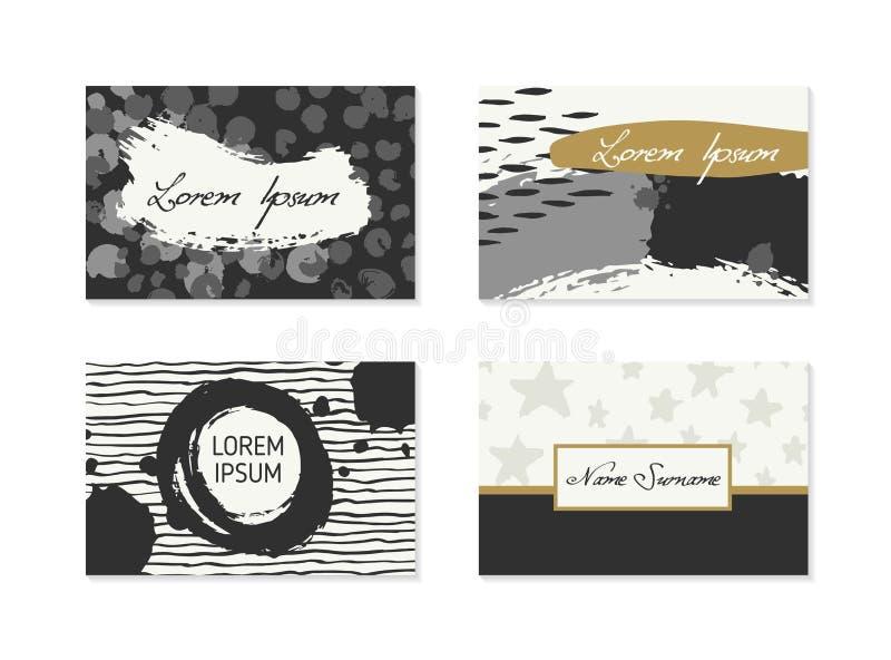 Set wizytówki z ręka rysującymi elementami ilustracja wektor