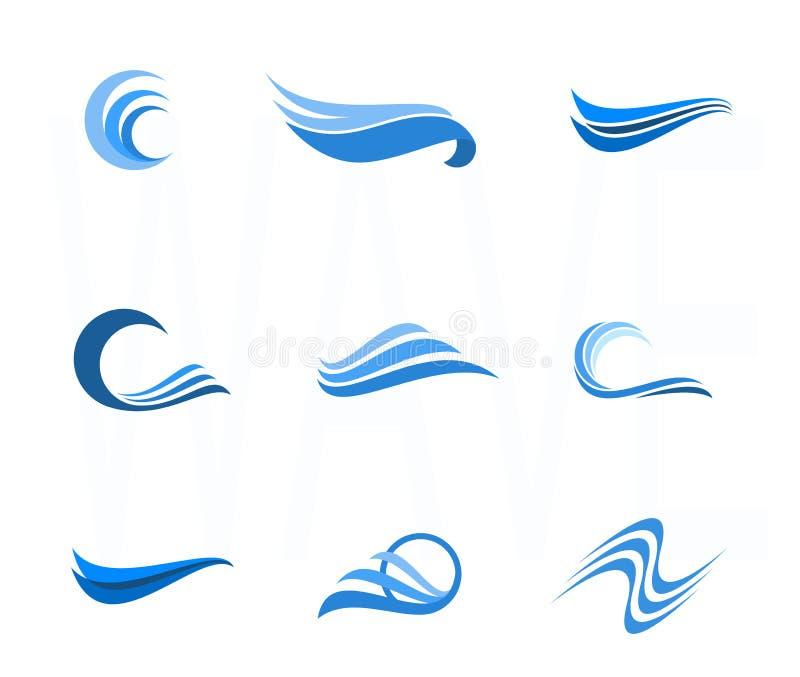 Set woda i falowi projektów elementy Może używać jako ikona, symb royalty ilustracja