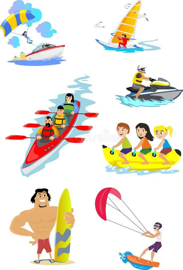 Set wodny ekstremum bawi się ikony ilustracja wektor