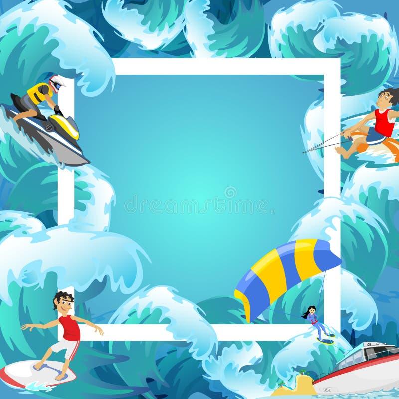 Set wodny ekstremum bawi się tła, odizolowywający projektów elementy dla wakacje aktywności zabawy pojęcia, kreskówki fala royalty ilustracja