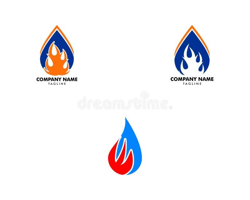 Set wody kropli ogienia logo projekta szablonu ikona ilustracji
