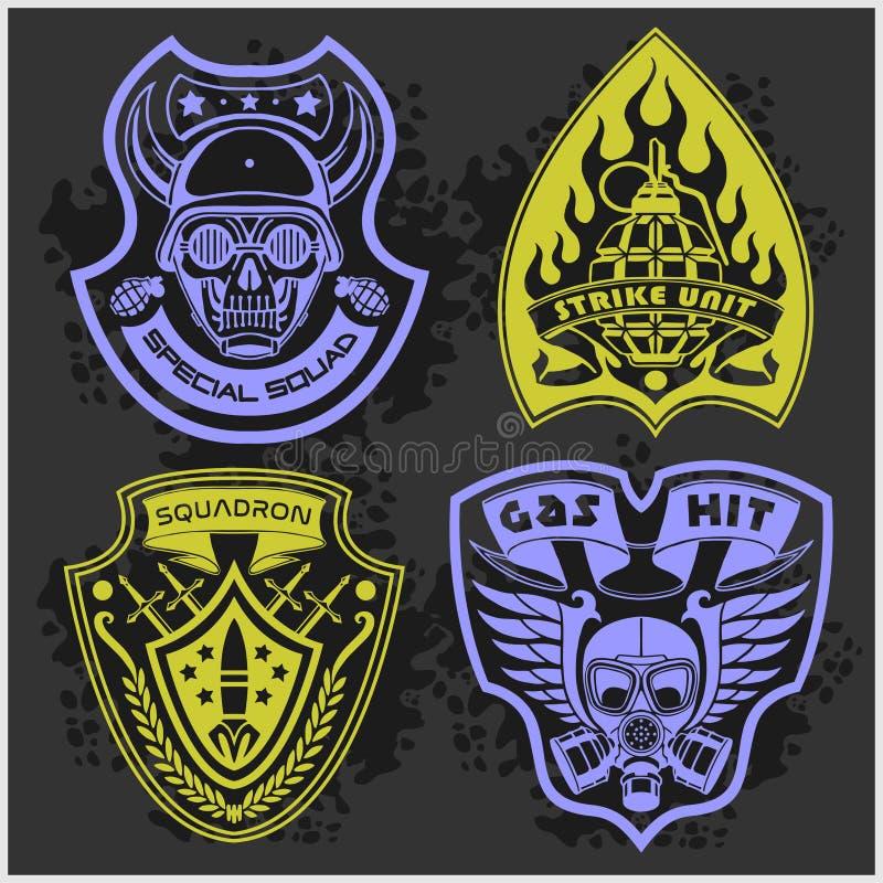 Set wojskowy - wojsko łaty 4 i odznaki ilustracja wektor