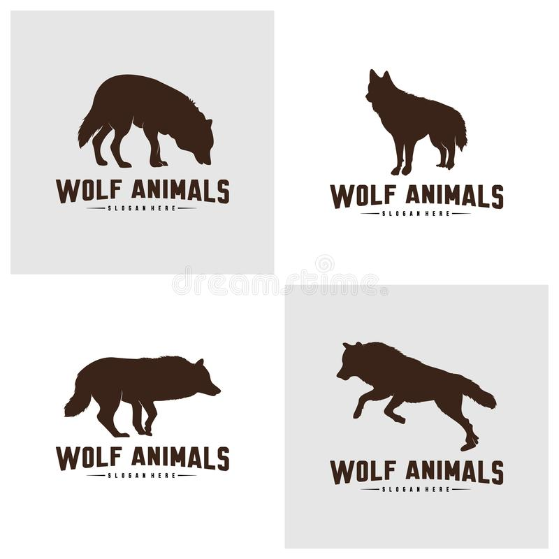Set of Wolf Abstract Logo Design Vector Illustration. Wolf Logo Template. Simple flat style. Icon Symbol vector illustration