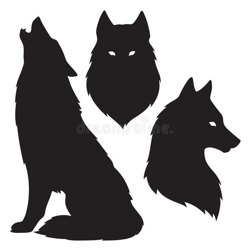 Set of wolf silhouettes isolated. Sticker, print or tattoo design vector illustration. Pagan totem, wiccan familiar spirit art.  vector illustration