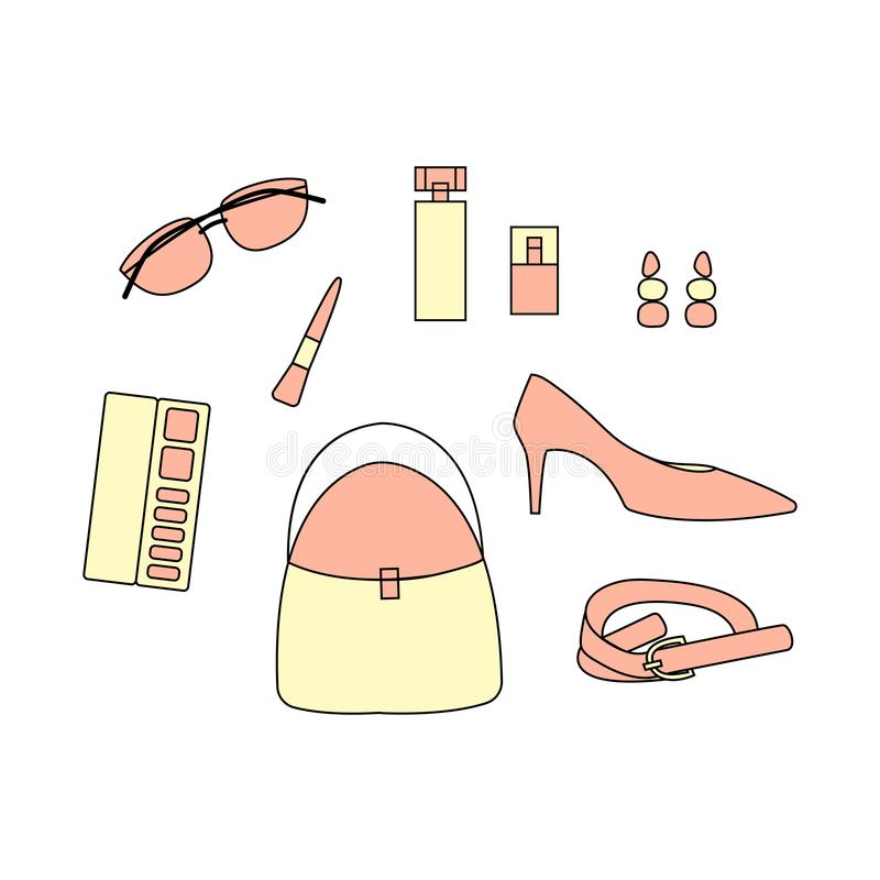 Set of woman accessories. Set with bag, shoes, belt, earring, ma royalty free illustration