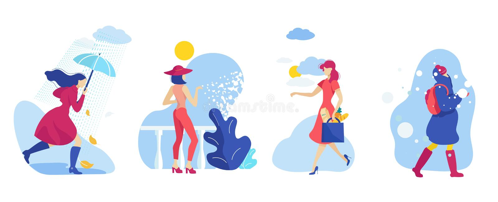 Set Woman Different Season and Weather Conditions. vector illustration