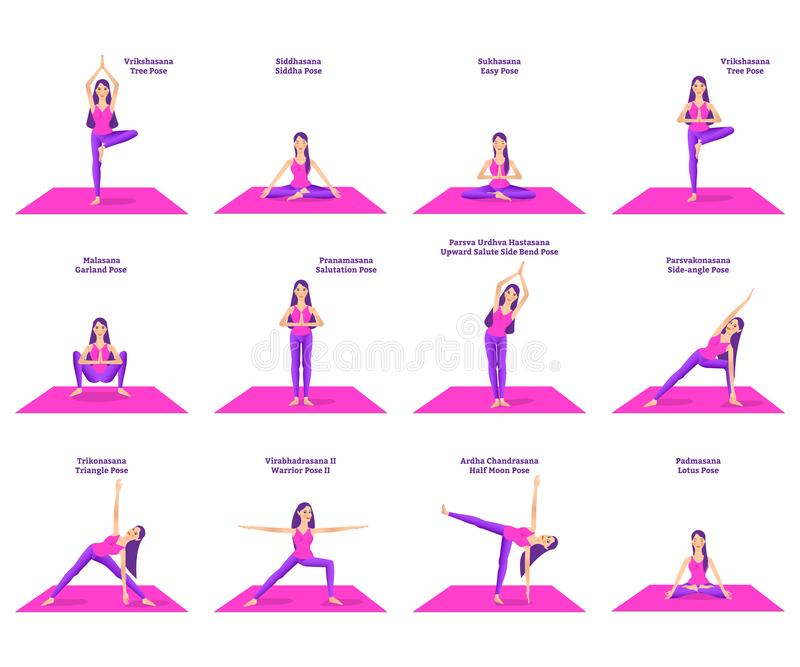 Set Of Woman Doing Different Yoga Poses Stock Vector Illustration Of Pose Positive 131669813