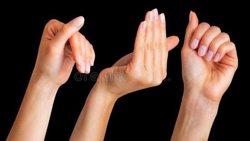 Set of woman hands clinging on some wall edge stock images