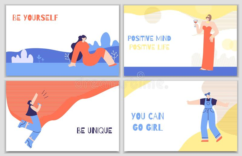 Set Woman Motivation Posters with Daily Stimulus vector illustration