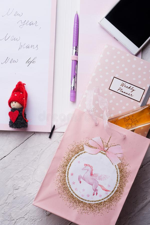 Set of woman  plans  at new year with angel and gifts. concept shot royalty free stock images