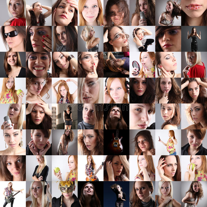 Set of Woman Portraits royalty free stock images