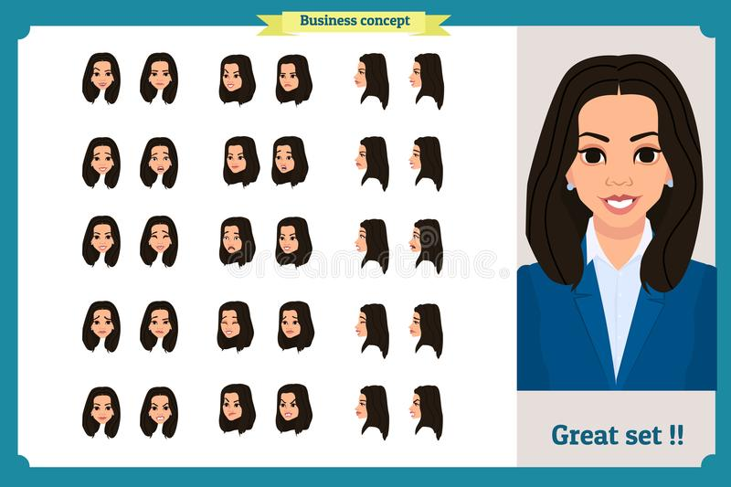 Set of woman`s emotions design. Facial expression. Girl Business.Front, side, profile view animated character. Vector illustration vector illustration