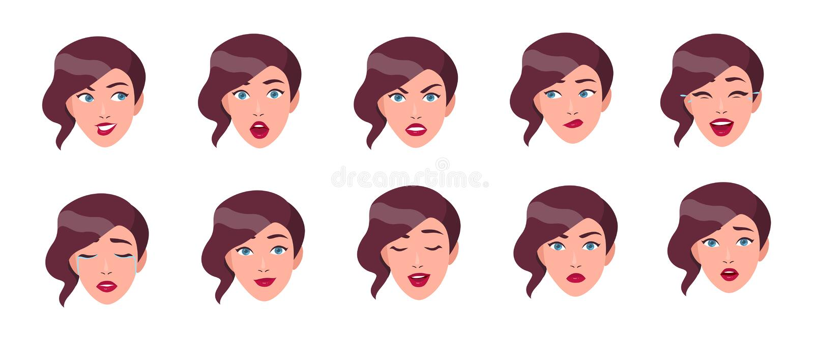 Set of woman`s emotions. Girl face with different facial expression collection. Colorful vector illustration in flat royalty free illustration