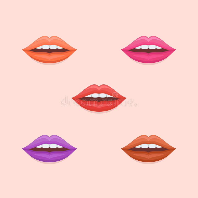 Set of woman lips with varicolored lipstick flat icons. Vector illustration. stock illustration