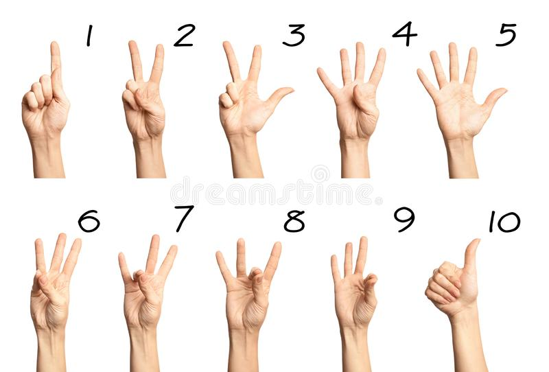 Set of woman showing numbers on white. Sigh language. Set of woman showing numbers on white background. Sigh language royalty free stock photo