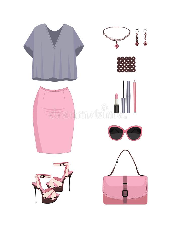 Set of women clothes and accesories. royalty free illustration