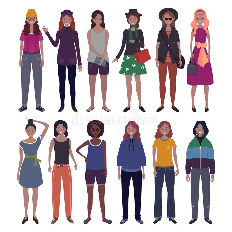 Set of women dressed in trendy casual clothes. Flat cartoon vector vector illustration