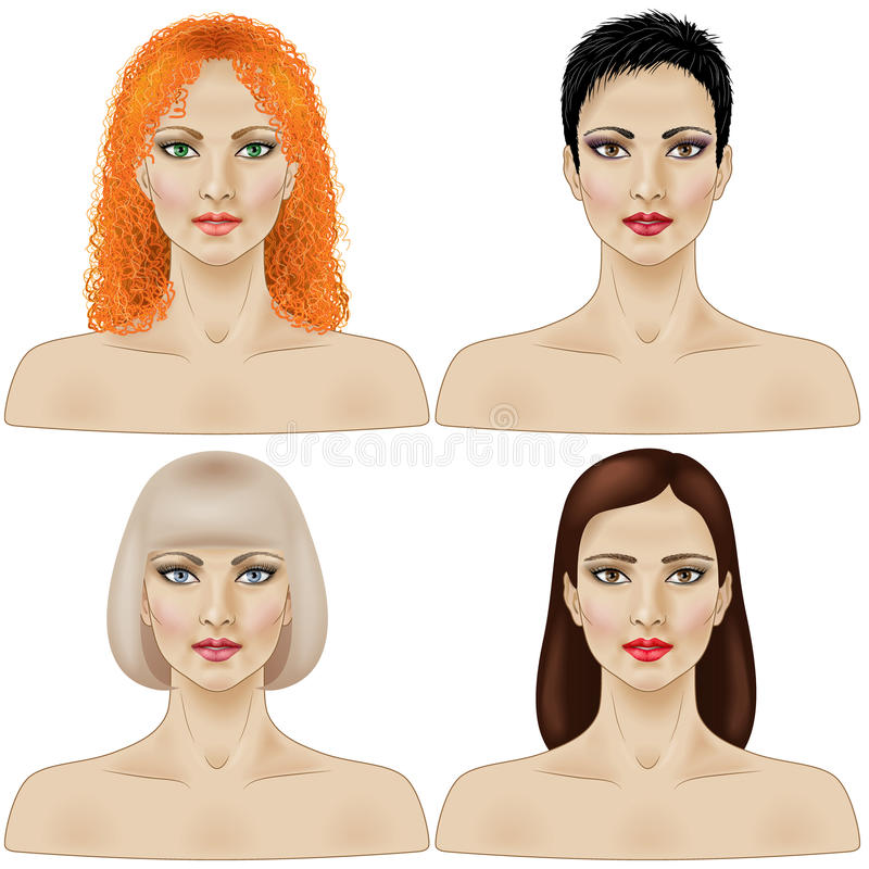 Set of women faces. With different hairstyle isolated on white stock illustration